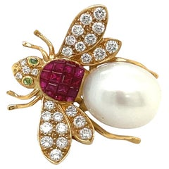 18KT Gold Bee Brooch with Diamond .94 Carat Ruby 1.67 Carat and South Sea Pearl