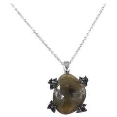18Kt Gold Black Diamonds and Massive Green Sapphire Garavelli Pendant with Chain