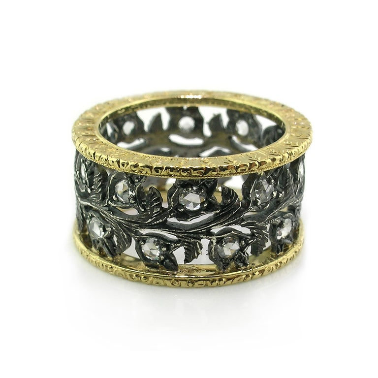 Rose Cut 18kt Gold, Blackened Sterling, and Diamond Eternity Band Handmade in Italy For Sale