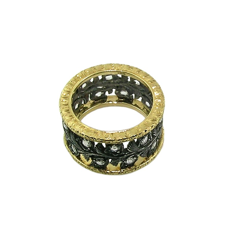 18kt Gold, Blackened Sterling, and Diamond Eternity Band Handmade in Italy In New Condition For Sale In Lynchburg, VA