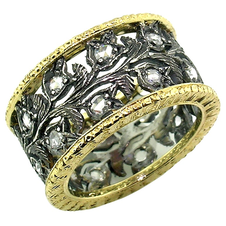 18kt Gold, Blackened Sterling, and Diamond Eternity Band Handmade in Italy For Sale