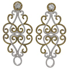 18Kt Gold Chandelier Earrings with Yellow and White Diamonds & Solitaire Diamond