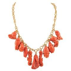 18kt Gold Coral Link Necklace