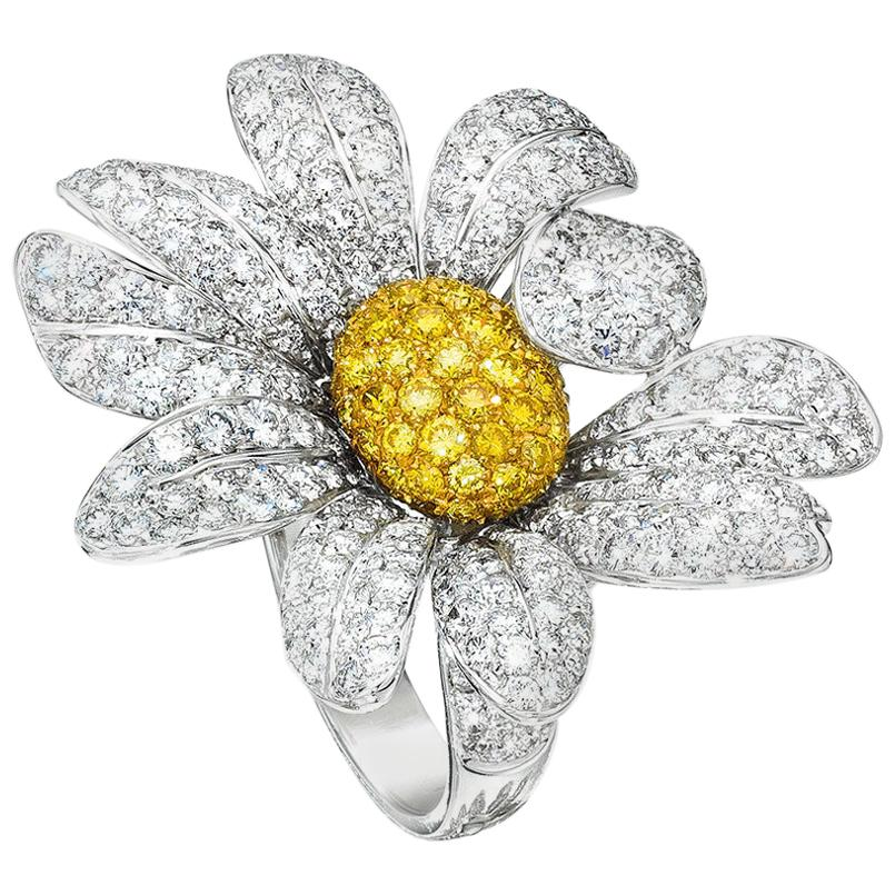 18KT Gold Daisy Flower Ring with 5.65Ct White and 1.17Ct. Yellow Pave Diamonds