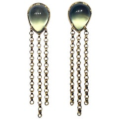 18 Karat Gold Dangle Earrings Set with Prehnite Cabochons