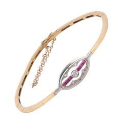 18 Karat Gold Diamond and Ruby Bracelet