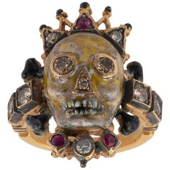 18 Karat Gold Diamond Ruby and Enamel Crown Skull Ring by A. Codognato