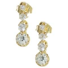 18kt Gold Diamond Stud Earrings, 1940's