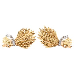 18 Karat Gold and Diamond Wheat Stalk Earrings