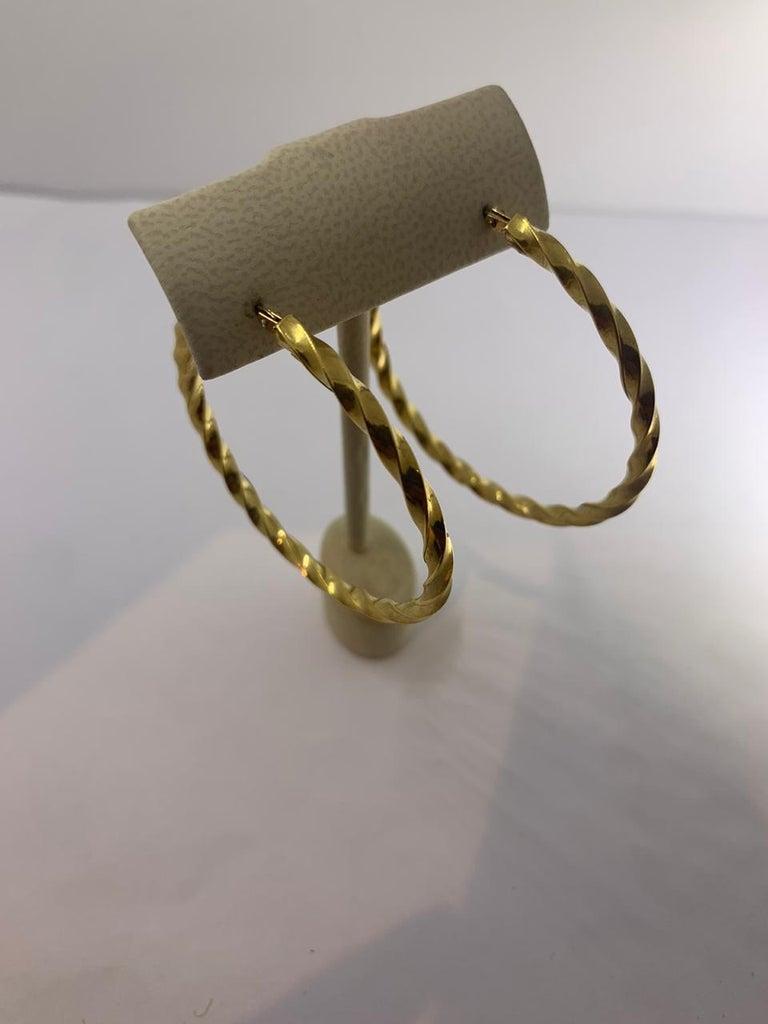 18KT Gold Earrings  Twist Hoop Earrings 12-10110
