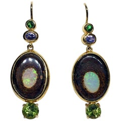 18kt Gold Earrings with Tsavorite Garnet, Tanzanite, Australian Boulder Opal and