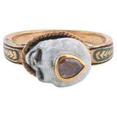 18 Karat Gold Enamel and Diamond Small Ring by Codognato