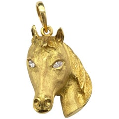 18 Karat Gold Horse Head and Diamond Pendant