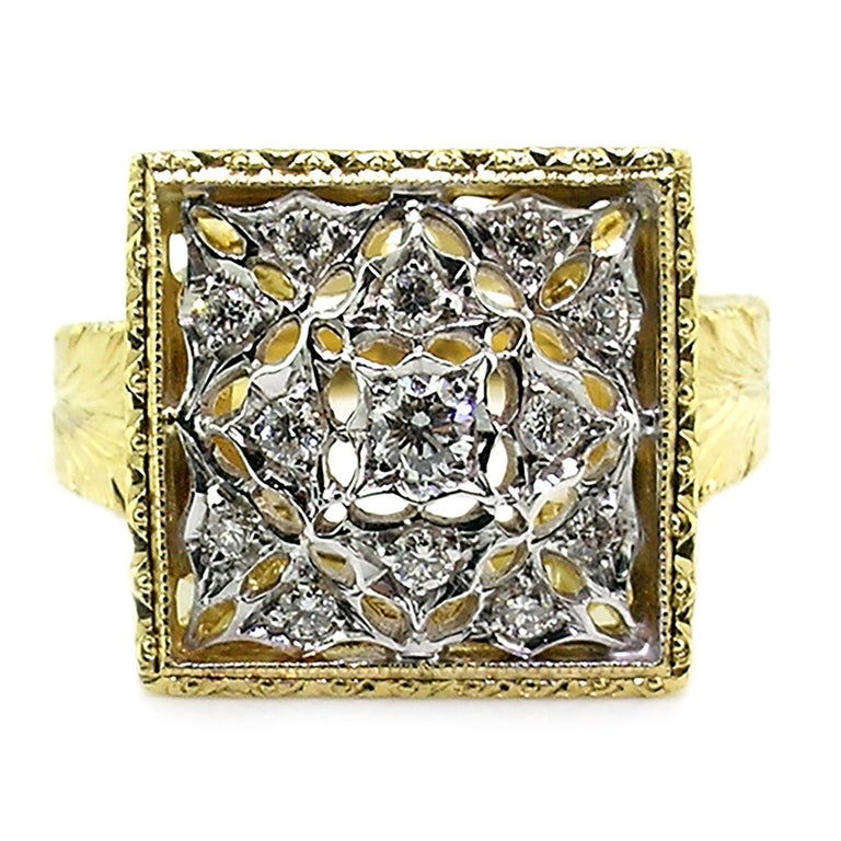 18kt Gold Lace and Diamond Hand Engraved Ring, Handmade in Florence, Italy In New Condition For Sale In Logan, UT