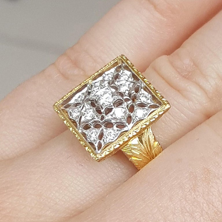 Women's 18kt Gold Lace and Diamond Hand Engraved Ring, Handmade in Florence, Italy For Sale