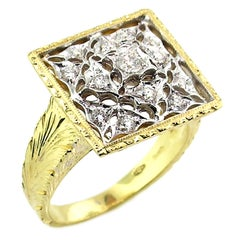 18kt Gold Lace and Diamond Hand Engraved Ring, Handmade in Florence, Italy