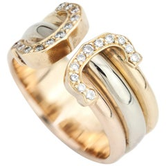 18kt Gold Ladies Cartier Ring with Diamonds, Made in France, Paris, circa 1990s