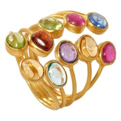 18kt Gold Large Rainbow Almost Ring