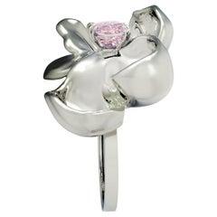 18kt Gold Magnolia Ring with GIA Cert. 0.8 Carat Fancy Light Purple Pink Diamond