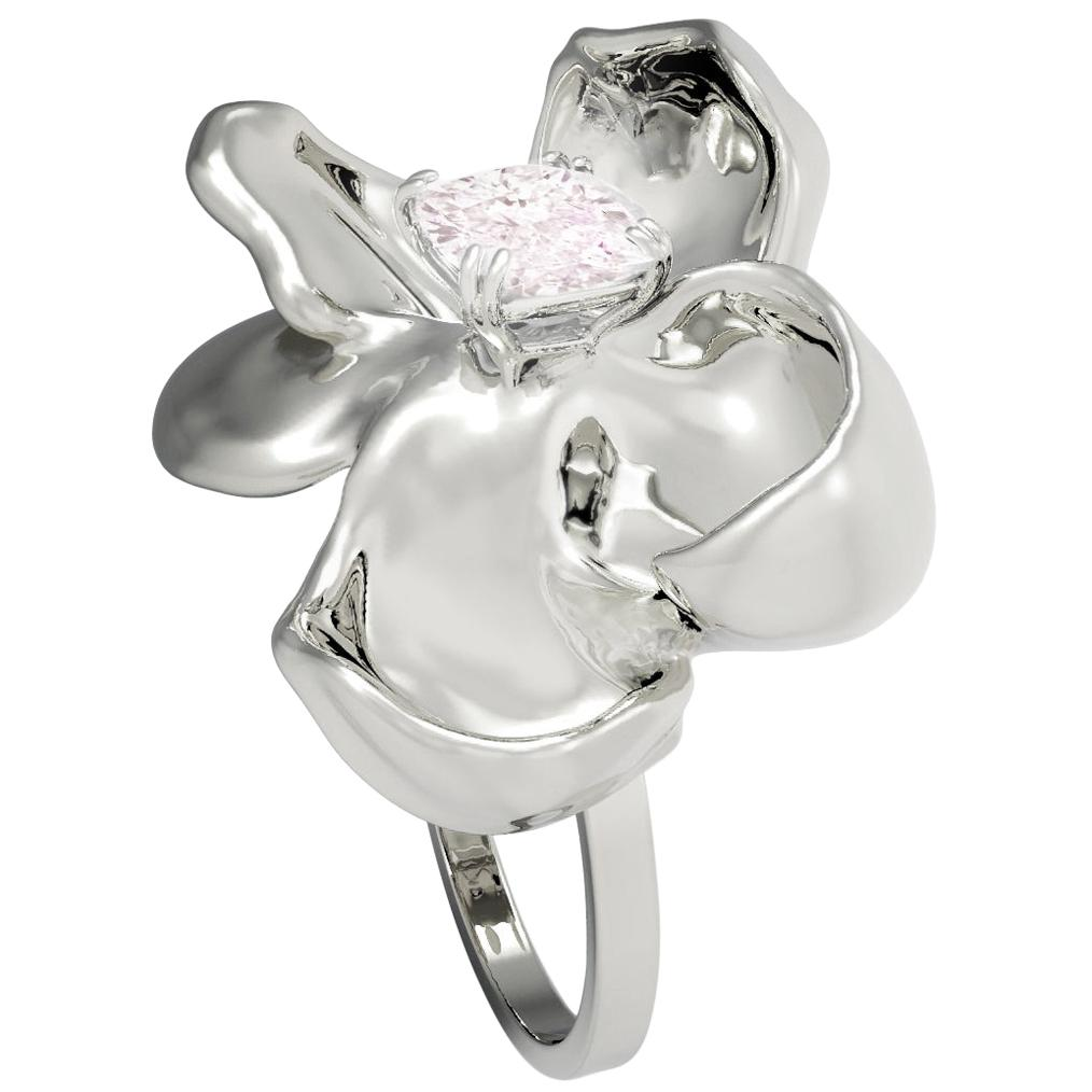 18Kt Gold Magnolia Ring with GIA Certified 0.7 Carat Fancy Light Pink Diamond