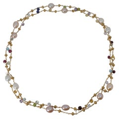 18kt Gold Marco Bicego Long Necklace, Paradise Collection, Pearls & Gemstones