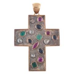 18 Karat Gold Multicolored Stone and Rose Diamond Cross Pendant