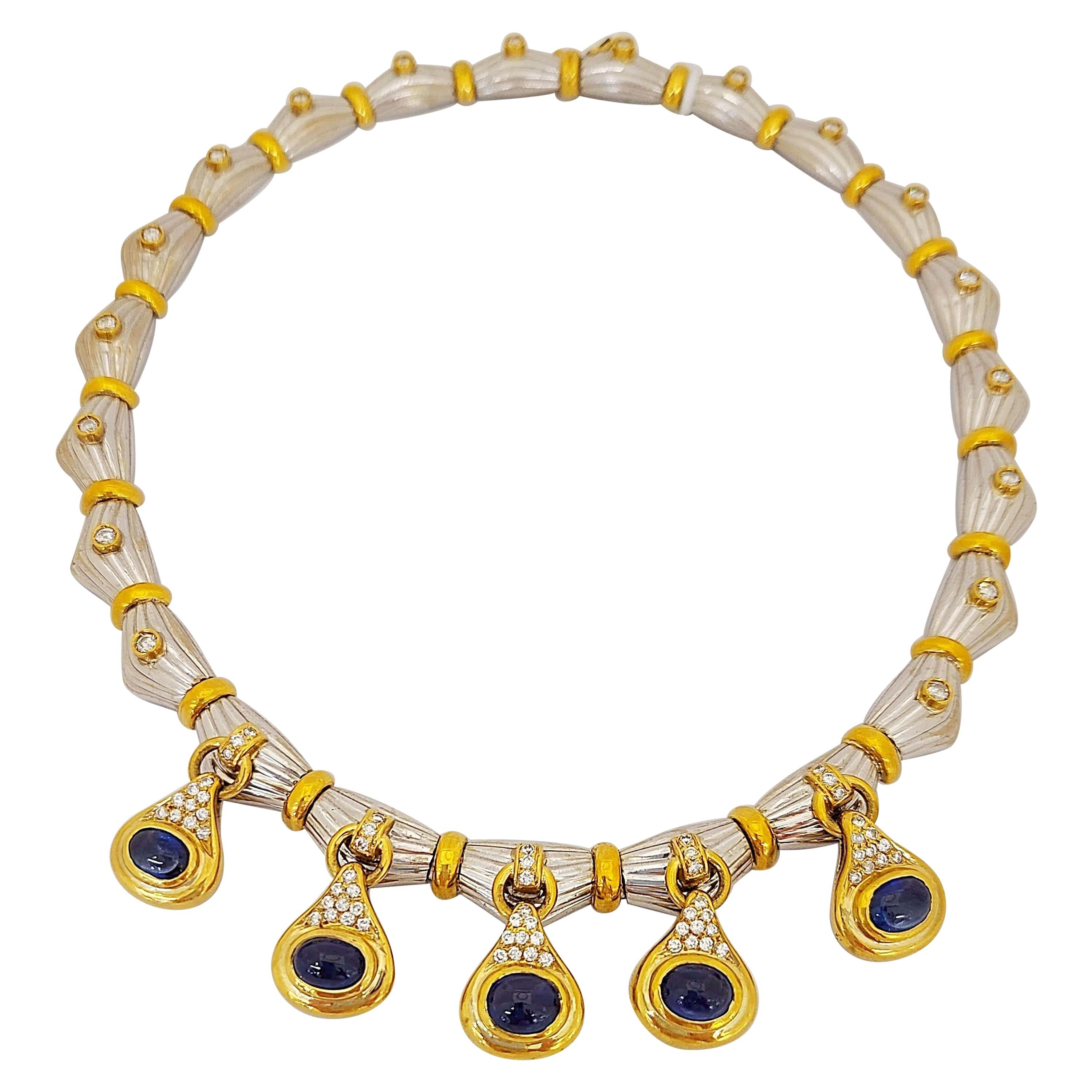 18KT Gold Necklace with 14.75Ct. Cabochon Blue Sapphires and 2.25 Carat Diamonds