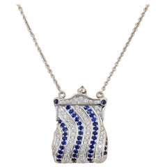 18KT Gold Petite Purse Necklace with 1.50 Carat Diamonds & 1.50 Carat Sapphires