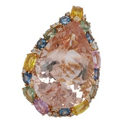 18kt Gold Pink Ring with 27.40ct Huge Pear Shape Morganite & Multi Color Stones