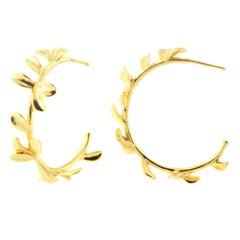 18kt gold plated hoop earrings NWOT