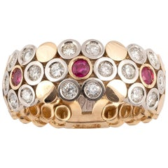 18 Karat Gold Ruby and Diamond Articulated Ring