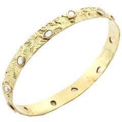 18kt Gold Seascape Bangle with 3.71ct Rose Cut Diamonds