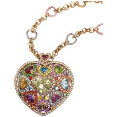 18 Karat Gold and Semiprecious Heart Necklace with 15.94 Multicolored Sapphires