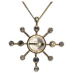 Diamond and Rutile Quartz Gold Pendant