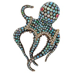 18KT Gold & Sterling Silver Octopus Brooch with 7.10Ct. Opals, Diamonds & Rubies