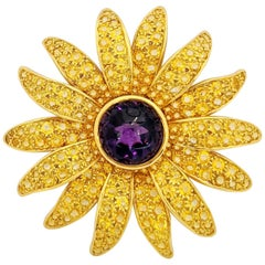 18kt Gold Sunflower Brooch, 20.24ct Yellow Sapphires and 15.58 Carat Amethyst