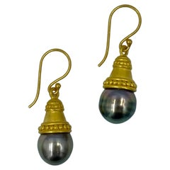 18kt Gold Tahitian Grey Pearl Handcrafted Etruscan Style Dangle Earrings