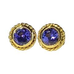 18kt Gold Tanzanite Stud Earrings