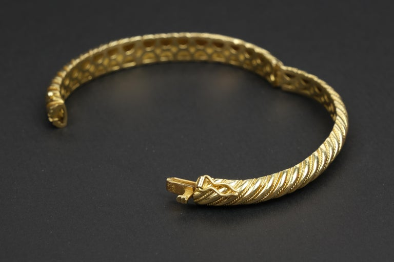 Women's 18 Karat Gold Torsade Bracelet For Sale