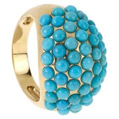 18 Karat Gold Turquoise Band Ring