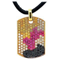 18kt Gold Dog Tag Pendant Necklace Pink & Yellow Sapphires 1.38 Carat Diamonds