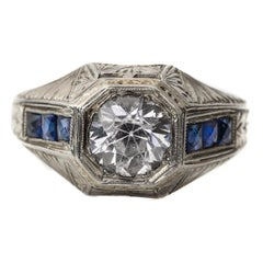 18K Hand Carved Art Deco Men's Ring 2 Carat White Sapphire Old Euro with Blue