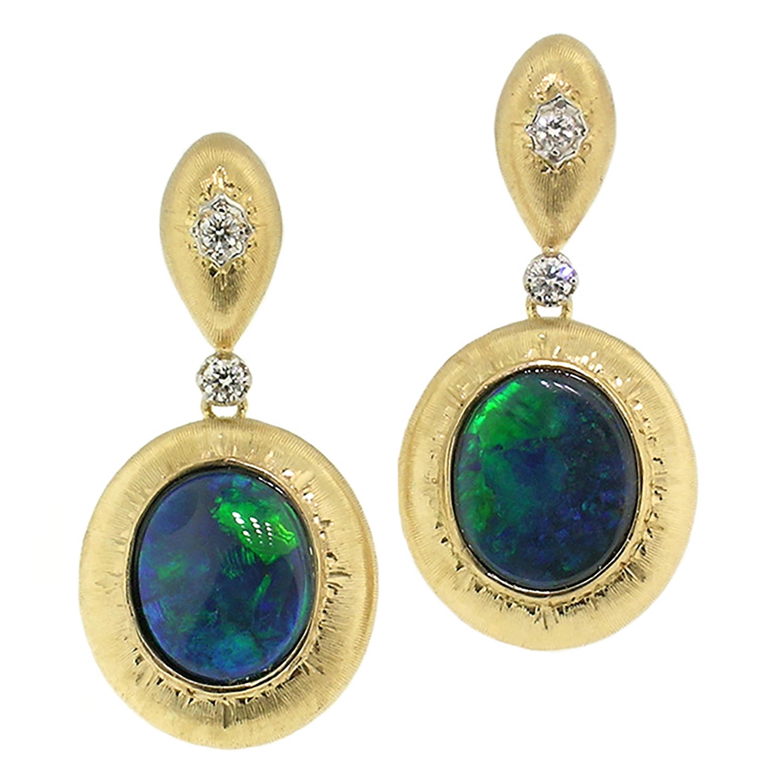 Cynthia Scott 4.87ct Black Opals in 18kt Earrings, Made in Italy