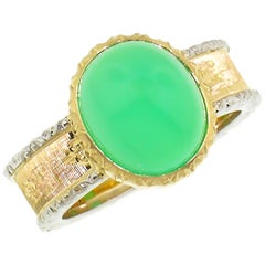18kt Hand Engraved Ring with Australian Chrysoprase, Handmade in Florence, Italy
