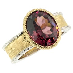 18kt Hand Engraved Ring with Tanzanian Pink Zircon, Handmade in Florence, Italy