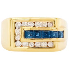 18kt Men's Sapphire Diamond Rectangle Ring Yellow Gold, Man's Sapphire 18 K Gold