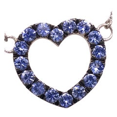 Berca 1.8kt Natural Blue Sapphire Blackened and White Gold Heart Necklace