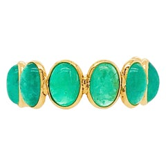 18kt Original Emerald Gemstone Adjustable Band-18 Karat Yellow Gold Emerald Ring