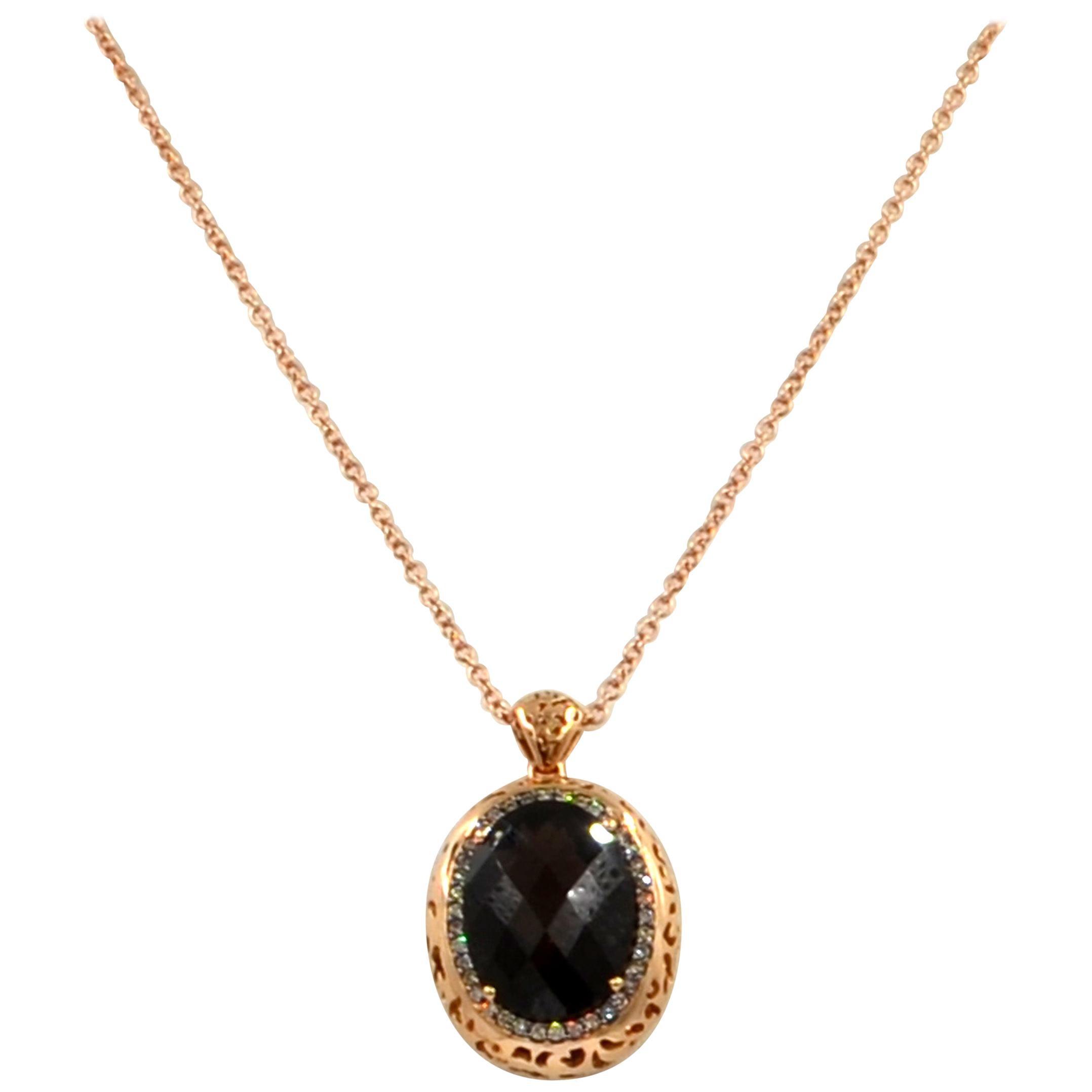18 Karat Gold Smoky Quartz and Brown Diamonds Garavelli Pendant with Chain