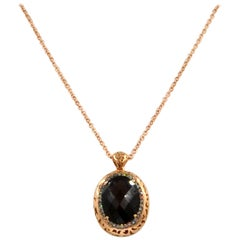 18 Karat Gold Smoky Quartz and Brown Diamonds Garavelli Pendant with Chain